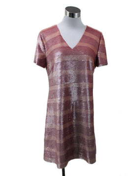 Pamella Roland Pink Stripes Sequins Dress