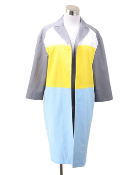 Pamella Roland Yellow Grey Blue Viscose Coat