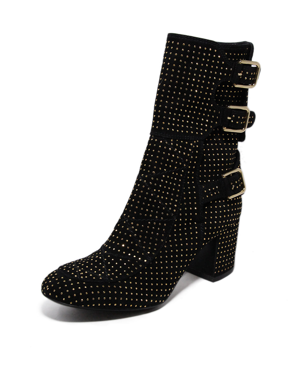 Paris Black Suede Gold Stud Booties 1