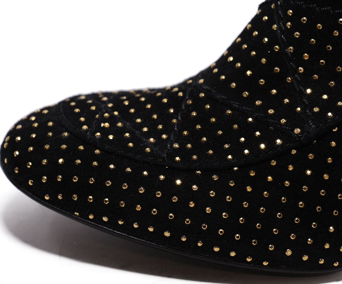 Paris Black Suede Gold Stud Booties 8