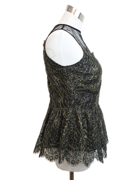 Parker Black Gold Lurex Lace Top 2