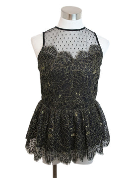 Parker Black Gold Lurex Lace Top 1