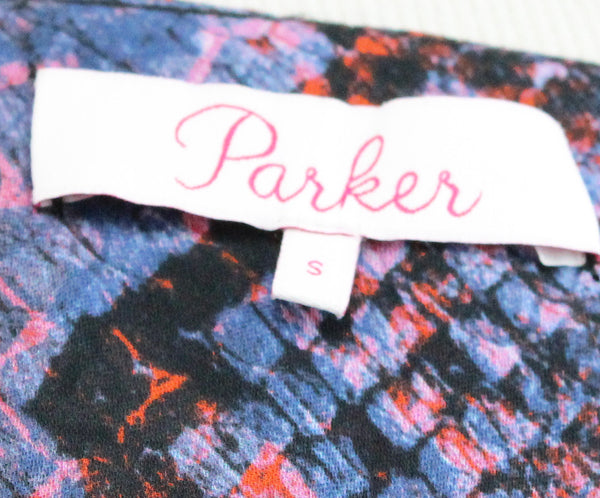 Parker Blue Orange Print Silk Viscose Top 4