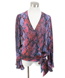 Parker Blue Orange Print Silk Viscose Top 1