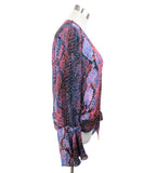 Parker Blue Orange Print Silk Viscose Top 2