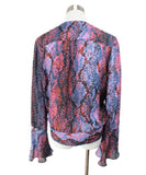 Parker Blue Orange Print Silk Viscose Top 3