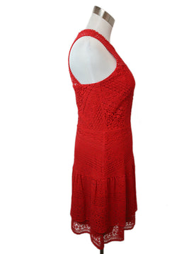 Parker Red Cotton Lace Dress 2