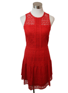 Parker Red Cotton Lace Dress 1