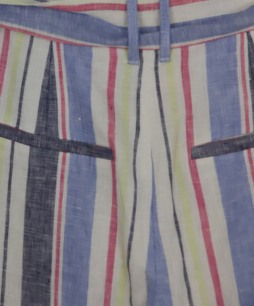 Parker White and Pastel Multi Colored Stripes Linen 4