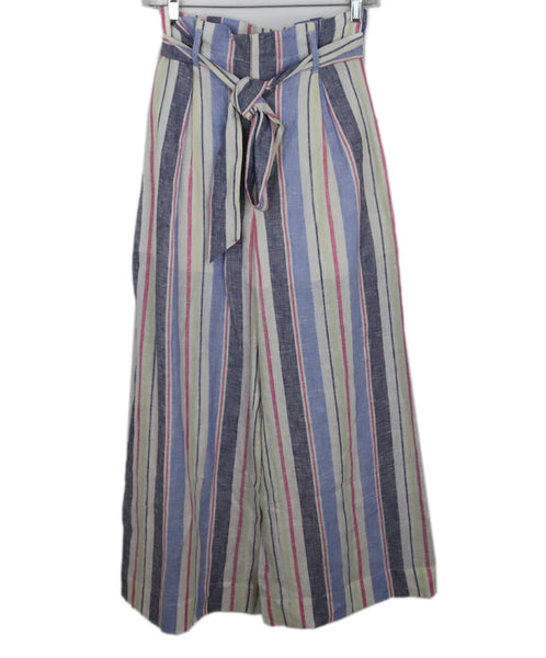 Parker White and Pastel Multi Colored Stripes Linen 2
