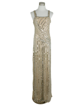Parker Neutral Mesh Silver Sequins Dress 1