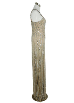 Parker Neutral Mesh Silver Sequins Dress 2