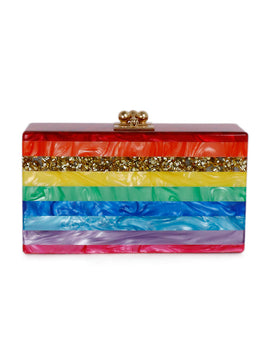 Parker Red Blue Green Multi Stripes Plastic Rectangle Clutch 1