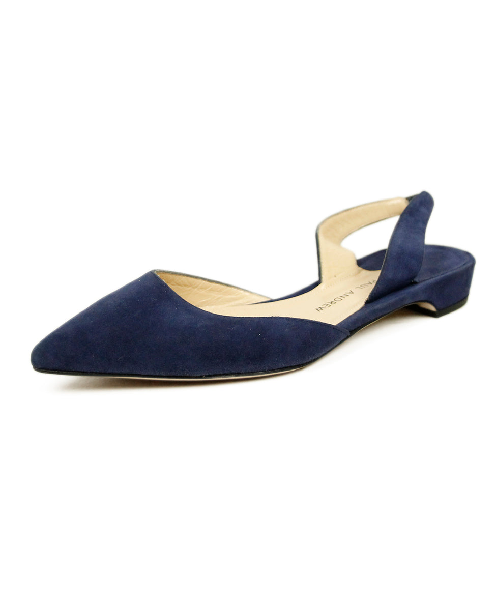 Paul Andrew Blue Suede Flats 1