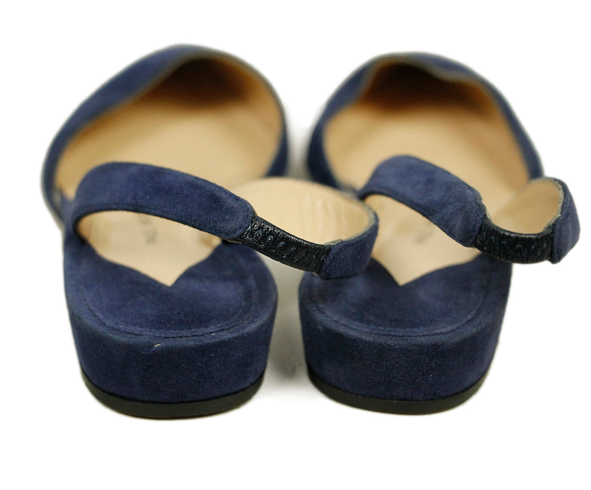 Paul Andrew Blue Suede Flats 6