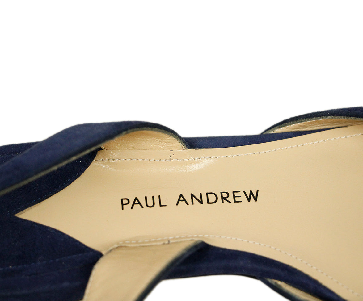 Paul Andrew Blue Suede Flats 8