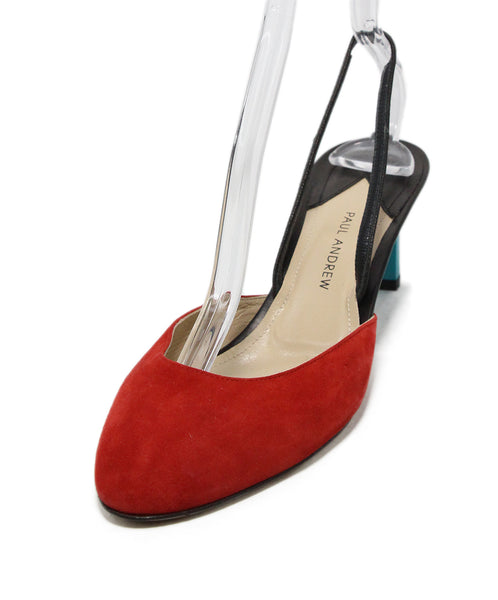 Paul Andrew Red Black Turquoise Suede Heels 1