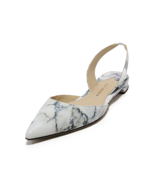 Paul Andrew White Marble Print Patent Leather Flats 1