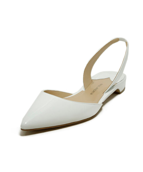Paul Andrew Flats White Leather Sling Backs Shoes 1