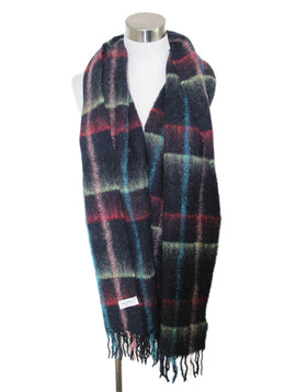 Paul Smith Black Multi Mohair Plaid Wool Scarf 1