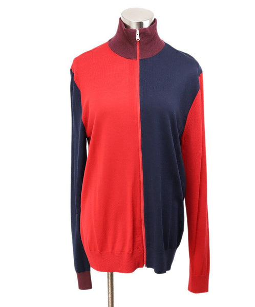 Paul Smith Red Merino Wool Navy Sweater 1