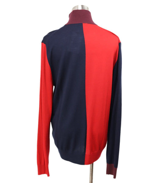 Paul Smith Red Merino Wool Navy Sweater 3