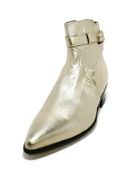 Paul Smith Metallic Gold Leather Booties 1