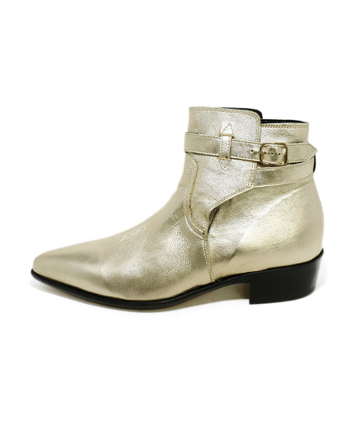 Paul Smith Metallic Gold Leather Booties 2