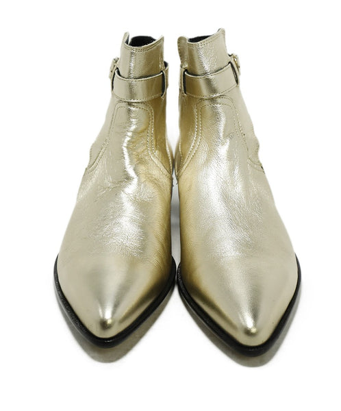 Paul Smith Metallic Gold Leather Booties 4