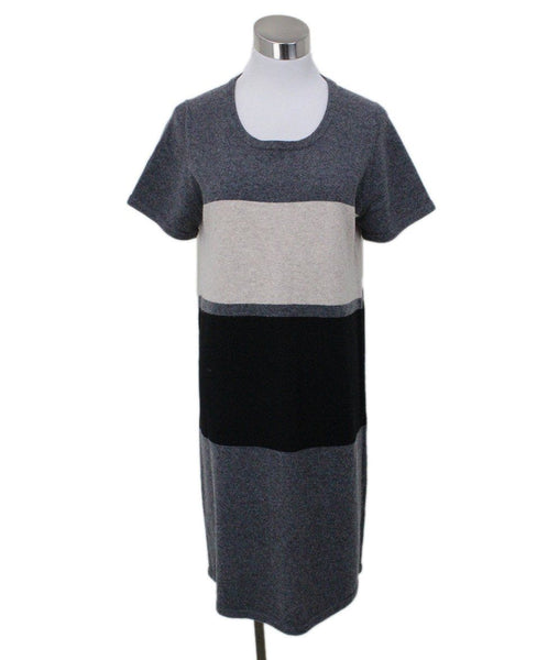 Paule Ka Grey Stripes Cashmere Sweater Dress Sz 12