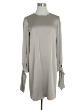 Paule Ka Neutral Grey Silk Longsleeve Dress 1