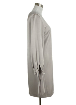 Paule Ka Neutral Grey Silk Longsleeve Dress 2