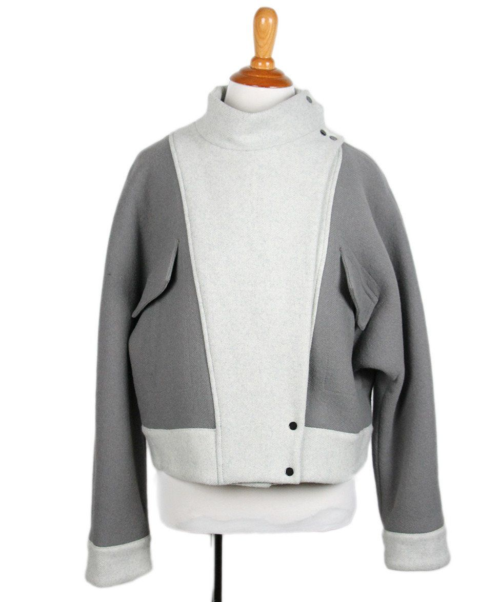 Phillip Lim Grey Wool Polyamide Jacket Sz 2 - Michael's Consignment NYC  - 1