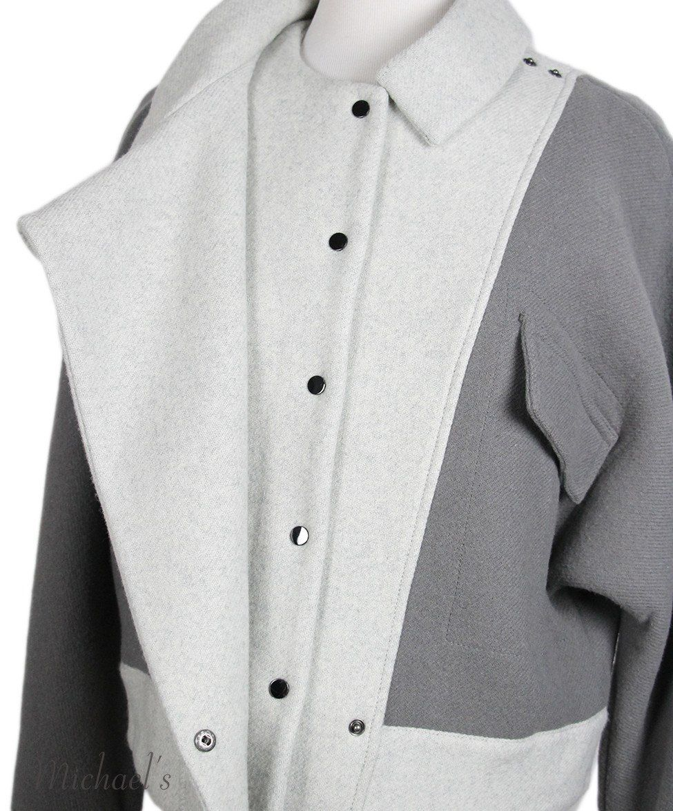 Phillip Lim Grey Wool Polyamide Jacket Sz 2 - Michael's Consignment NYC  - 5