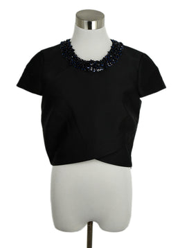Phillip Lim Black Polyester Silk Blue Sequins Trim Evening Top 1