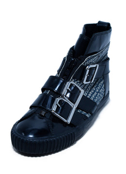 Phillip Lim Black Patent Leather Grey Print Buckle Sneakers 1