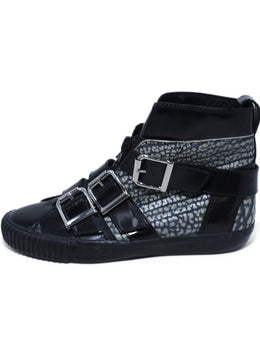 Phillip Lim Black Patent Leather Grey Print Buckle Sneakers 2
