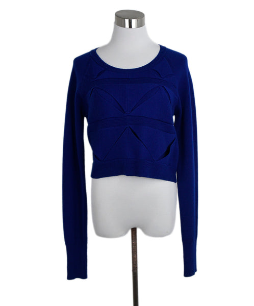 Phillip Lim Blue Wool Triangle Detail Sweater 1
