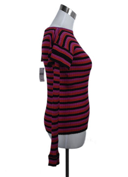 Philosophy Black Fuchsia Red Stripes Cotton Sweater 2