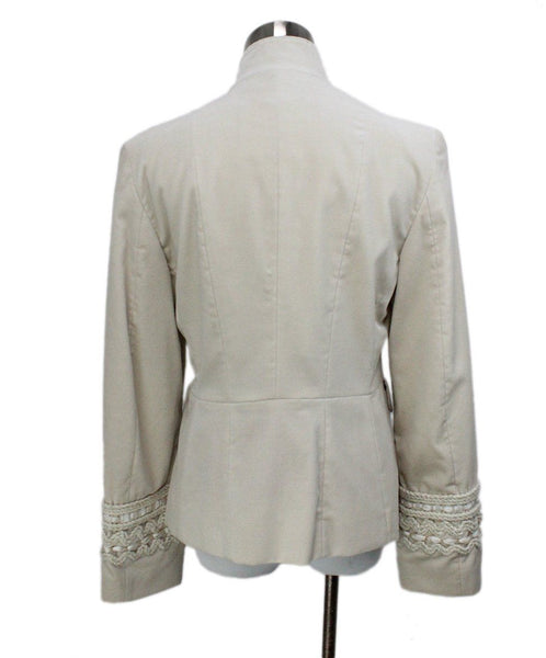 Piazza Sempione Ivory Velvet Embroidery Trim Jacket 3