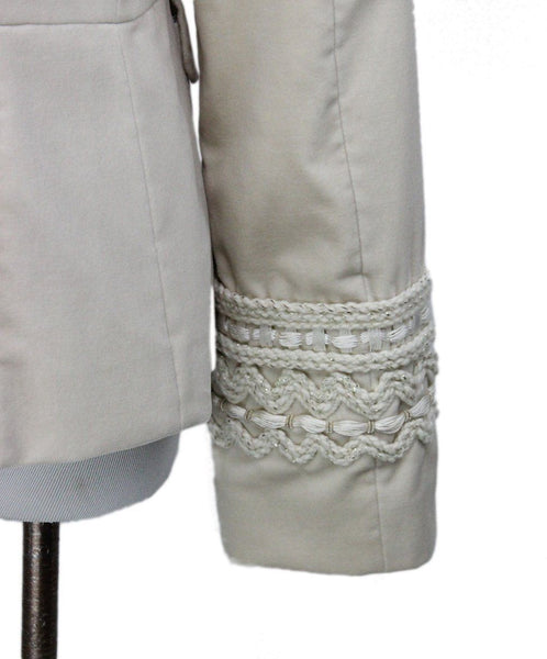 Piazza Sempione Ivory Velvet Embroidery Trim Jacket 5
