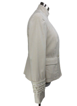 Piazza Sempione Ivory Velvet Embroidery Trim Jacket 2