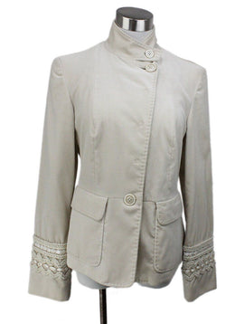 Piazza Sempione Ivory Velvet Embroidery Trim Jacket 1