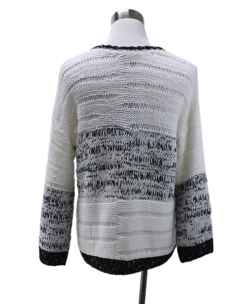Piazza Sempione White Cotton Black Trim Sequins Sweater 2