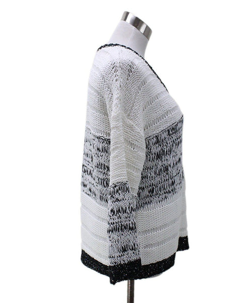 Piazza Sempione White Cotton Black Trim Sequins Sweater 1