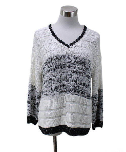 Piazza Sempione White Cotton Black Trim Sequins Sweater