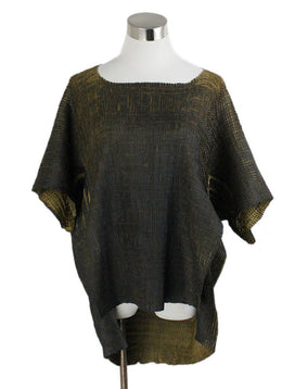 Pier Antonio Gaspari Black Olive Pleated Polyester Top 1