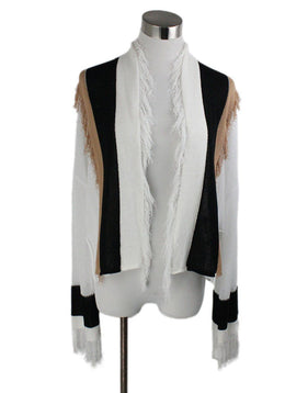 Pier Antonio Gaspari Black Tan White Cotton Fringe Sweater 1