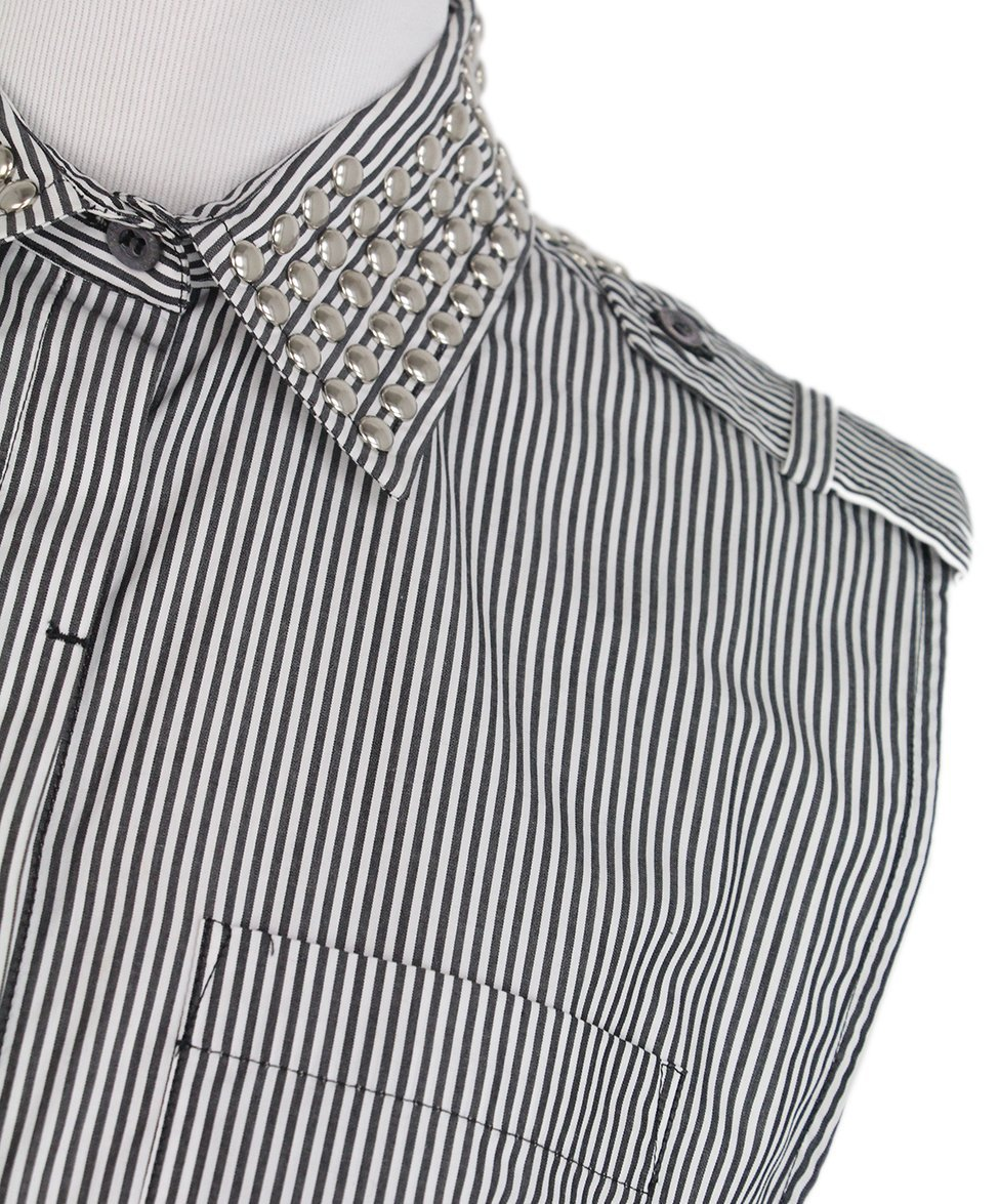 Pierre Balmain grey white stripes top 6