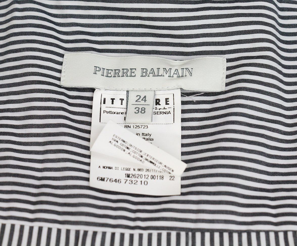 Pierre Balmain grey white stripes top 4